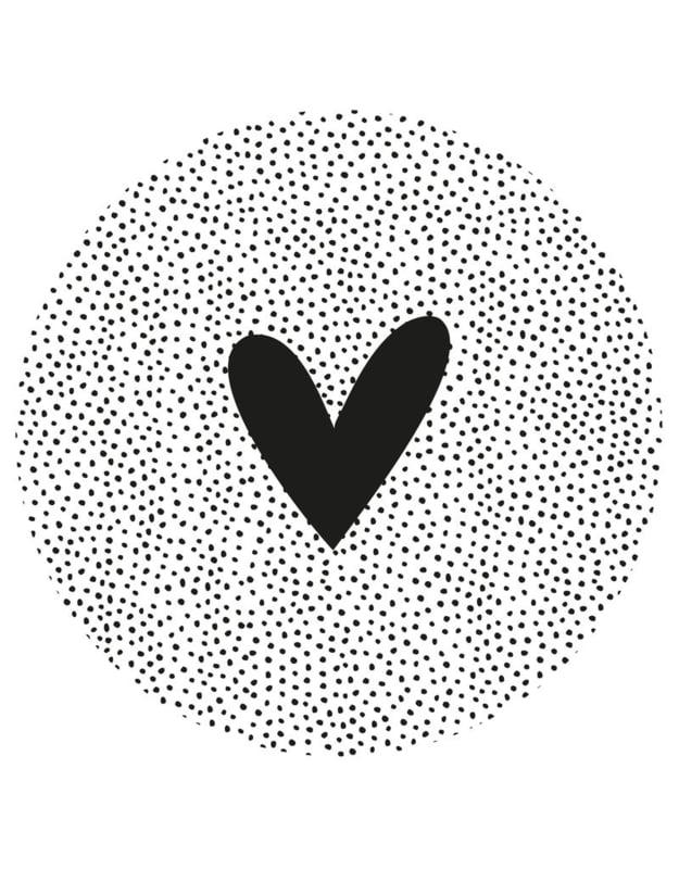 tuincirkel wit met zwarte dots en hart