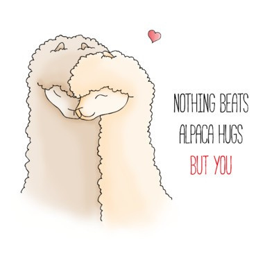 Alpaca wenskaart - nothing beats alpaca hugs but you