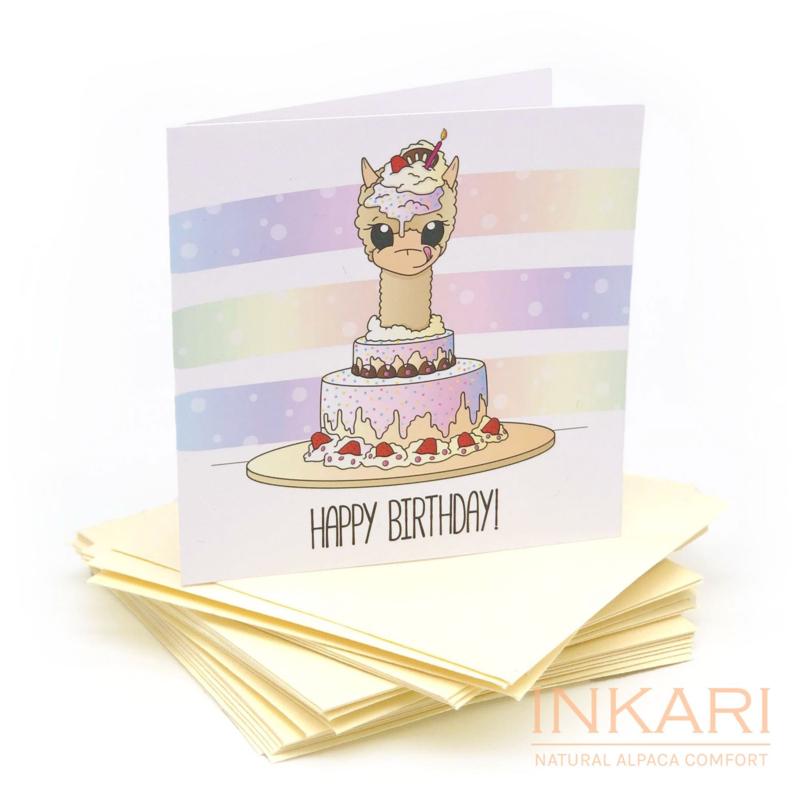 Alpaca verjaardagskaart - happy birthday