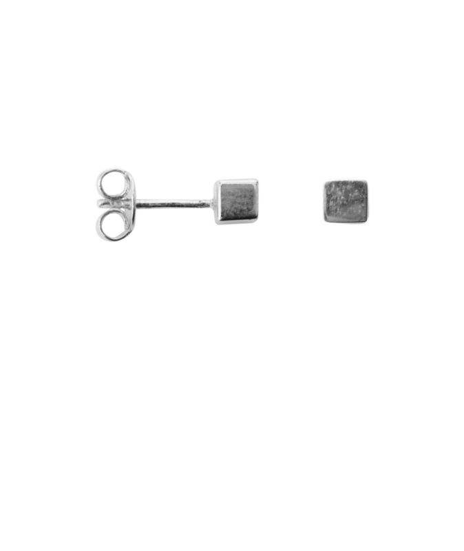 Cube earring - zilver