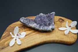amethyst 12 cm x6 cm covered with a little bit of snow quartz