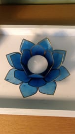 Theelichthouder lotusbloem blauw