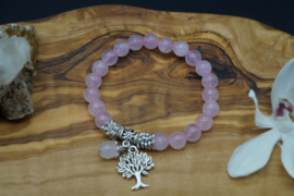 bracelet with rose quartz beads and tree of live charm