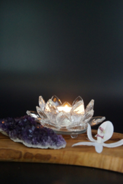 Theelichthouder Lotus in kristal