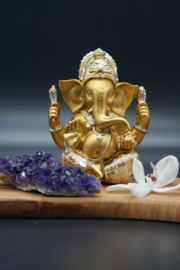 Golden Ganesha with luxury clothes