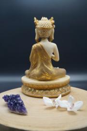 Goud met ivoorkleurige buddha 25 cm hoog