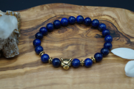 Bracelet with lapis lazuli beads and panther charm