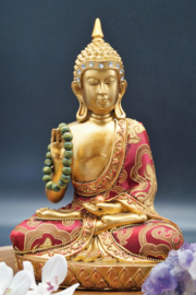 Sitting Buddha with wooden mala 24 cm