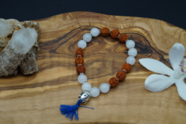 bracelet with rudraksha beads and white opal