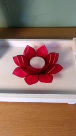 Theelichthouder lotusbloem rood