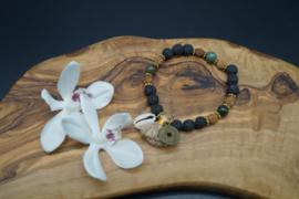 Bracelat with lavastone, rudrakshabeads and agate