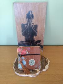 zakje groot (11 x 11 cm) met geluksmunt bruin