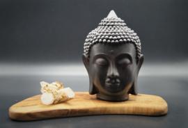 Boeddhahoofd zwart 16 cm hoog