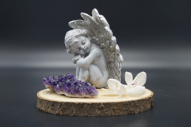 Sitting angel silver 14 cm
