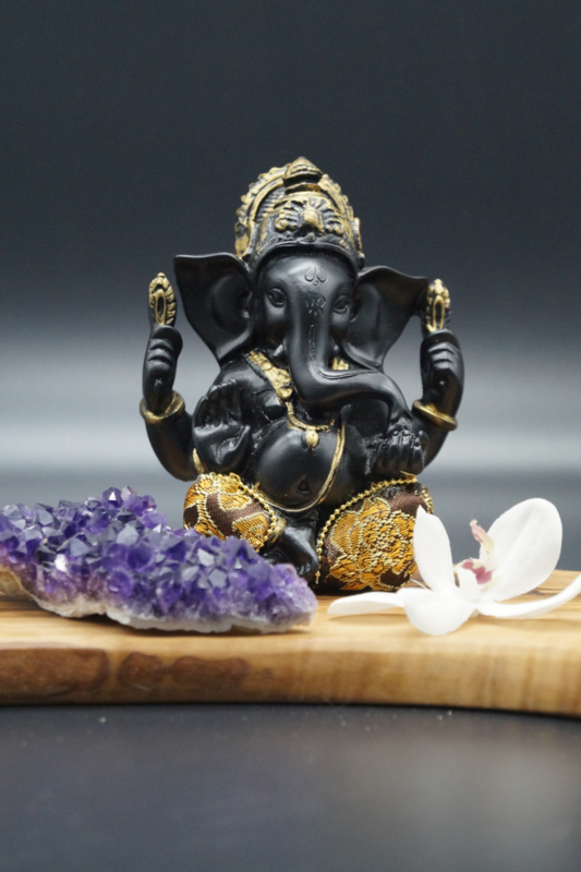 Black Ganesha with golden clothes 12 cm