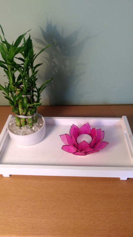 Theelichthouder lotusbloem roze