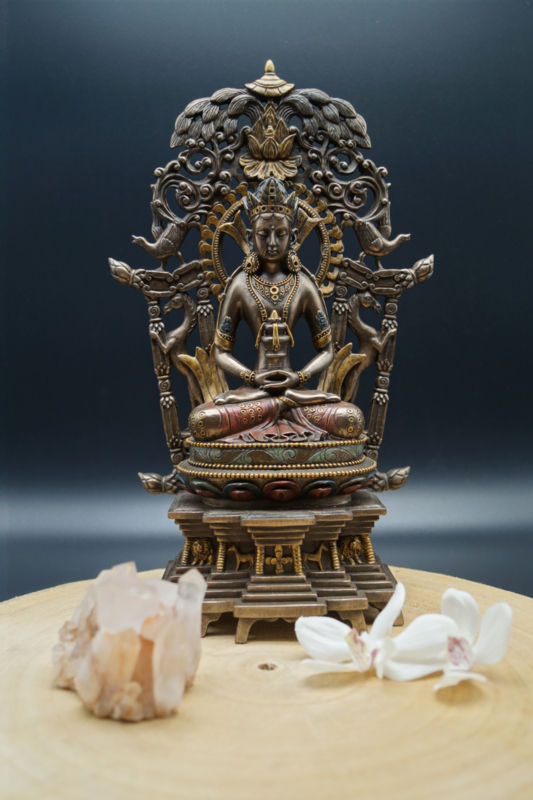 Bronskleurige Amitabha Buddha 28cm