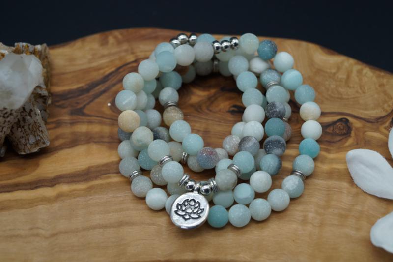 mala with 108 amazonite beads