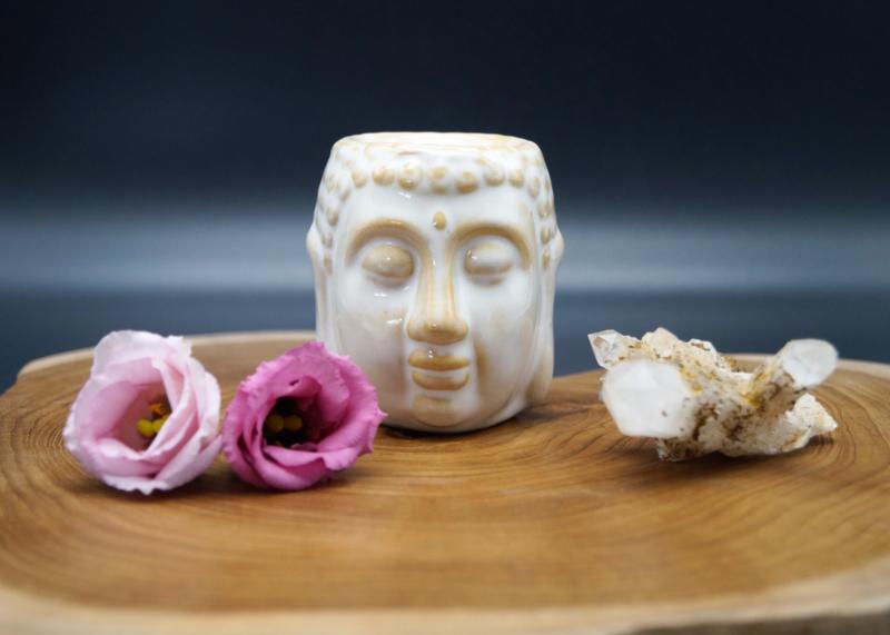 oliebrander Boeddha wit 8 cm