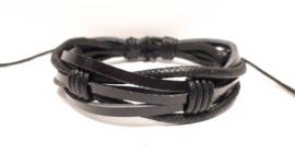 Zwart lederen armband