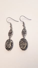 Zilveren oorbellen met agaat