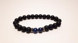 Armband van zwarte agaat en lapis lazuli
