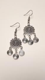 Zilveren oorbellen met spiraal rondjes