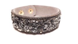 Grijze armband met agaat en jasper steentjes