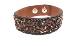 Donkerbruine armband met jasper steentjes