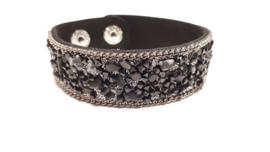 Zwarte armband met agaat en jasper steentjes