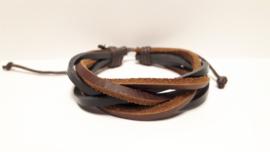 Bruin met zwart los gevlochten lederen armband