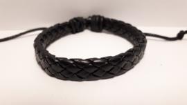 Gevlochten zwart lederen armband