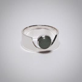 Zilveren ring met aventurijn steen