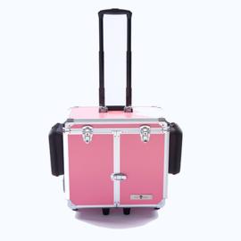 Luxe Mobile Pedicure Koffer met Grote Wielen Roze /st