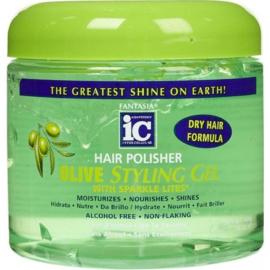 Fantasia IC Hair Polisher Olive Styling Gel With Sparkle Lites 454 Gr