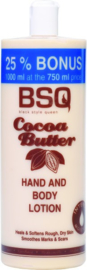 BSQ Cocoa Butter Hand and Body Lotion 750 ml + 25% Free.