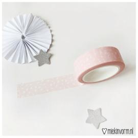 Washi tape   Lichtroze met witte vlekjes