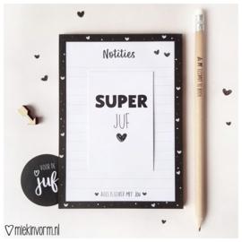 Kadootje voor de juf | notitieblok + potlood + sticker + mini-kaart