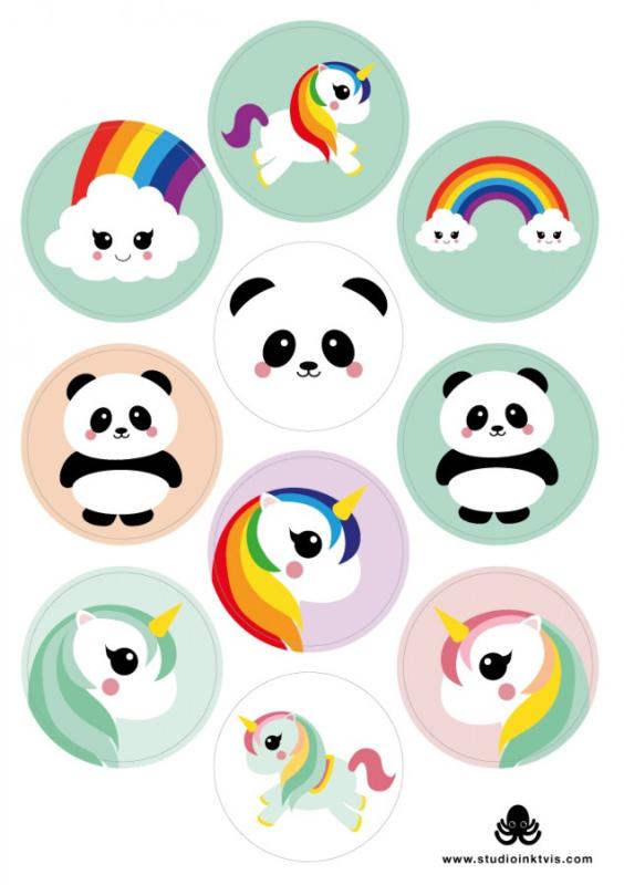 Stickervel Mix Eenhoorn-Panda-Regenboog