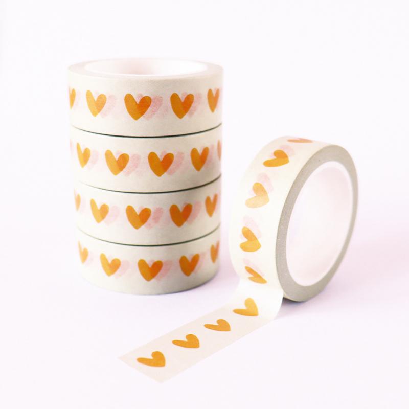 Washi tape | Hartjes geel