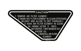 Caution Air Filter Decal