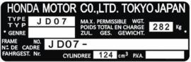 15. Identification Plate 125cc JD07