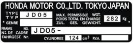15. Identification Plate 125cc JD05