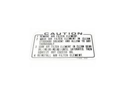 10. Label Air Cleaner Caution