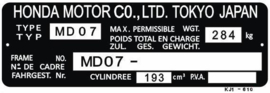 15. Identification Plate 200cc MD07