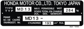 15. Identification Plate 200cc MD13