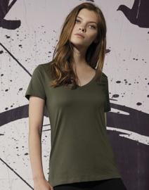 T-shirt met V-neck dames