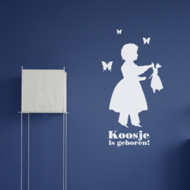 Geboortesticker Silhouette Girl