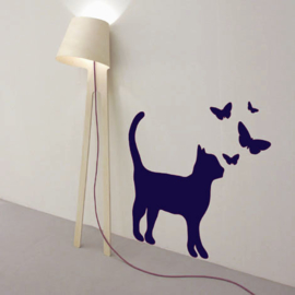 Interieursticker Cat with Butterflies