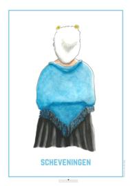 Vrouw in Scheveningse dracht | A4 Poster- Studio Scheveningen